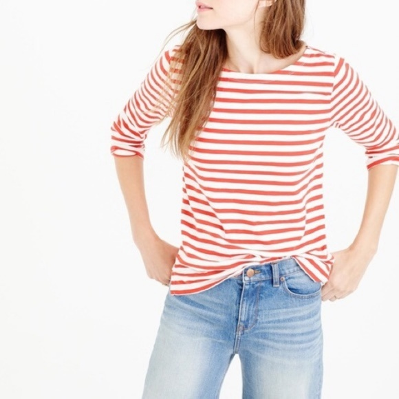 0b01582f3e J. Crew Tops | Jcrew Red Striped Boatneck Tshirt | Poshmark